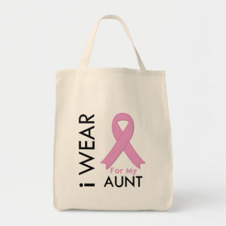 I Wear a Pink Ribbon For My Aunt Canvas Bags