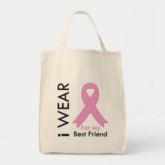 I Wear a Pink Ribbon For My Best Friend Canvas Bags