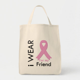 I Wear a Pink Ribbon For My Friend Canvas Bags