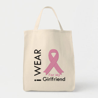 I Wear a Pink Ribbon For My Girlfriend Tote Bags