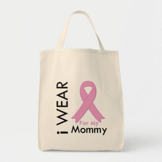 I Wear a Pink Ribbon For My Mommy Canvas Bags
