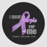 I Wear a Purple Ribbon For Me Classic Round Sticker