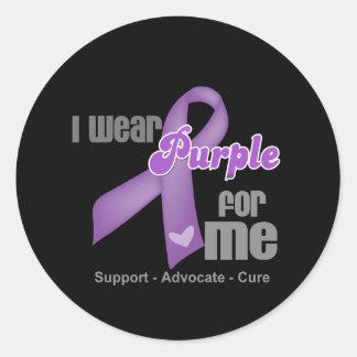 I Wear a Purple Ribbon For Me Classic Round Sticker