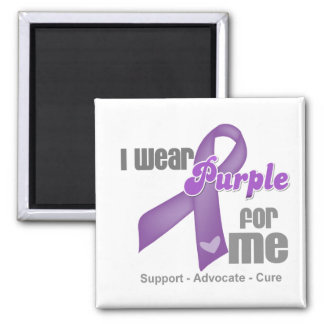 I Wear a Purple Ribbon For Me Magnets