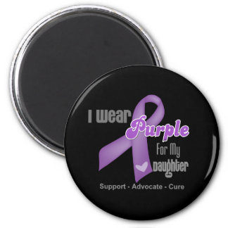 I Wear a Purple Ribbon For My Daughter 2 Inch Round Magnet