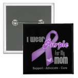 I Wear a Purple Ribbon For My Mom Button