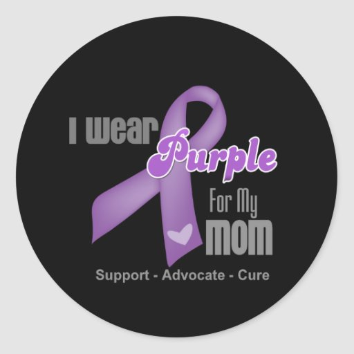 I Wear a Purple Ribbon For My Mom Classic Round Sticker