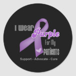 I Wear a Purple Ribbon For My Patients Classic Round Sticker