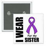 I Wear a Purple Ribbon For My Sister Pins