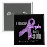 I Wear a Purple Ribbon For My Son 2 Inch Square Button