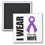 I Wear a Purple Ribbon For My Wife 2 Inch Square Magnet