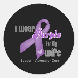 I Wear a Purple Ribbon For My Wife Classic Round Sticker