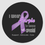 I Wear a Purple Ribbon For Someone Special Round Sticker