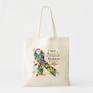 I Wear A Puzzle Because I Love My Daughter Budget Tote Bag