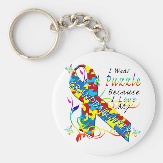 I Wear A Puzzle Because I Love My Granddaughter Keychain