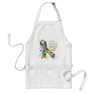 I Wear A Puzzle Because I Love My Sister Adult Apron