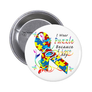 I Wear A Puzzle Because I Love My Son 2 Inch Round Button
