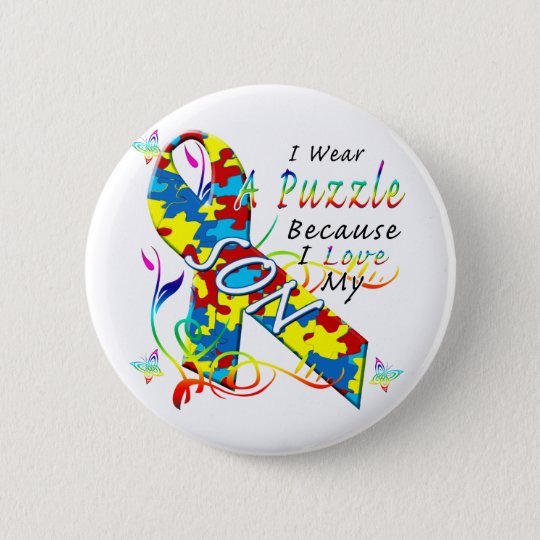I Wear A Puzzle Because I Love My Son Pinback Button