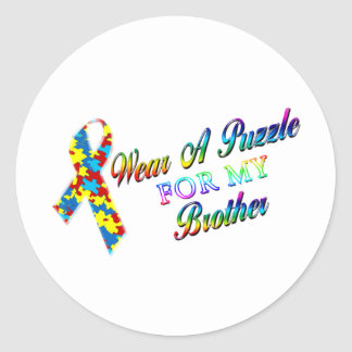I Wear A Puzzle for my Brother Classic Round Sticker