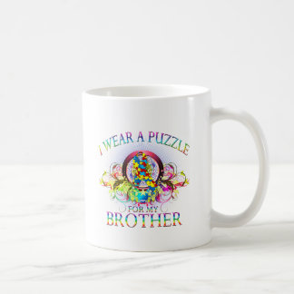 I Wear A Puzzle for my Brother (floral) Coffee Mug