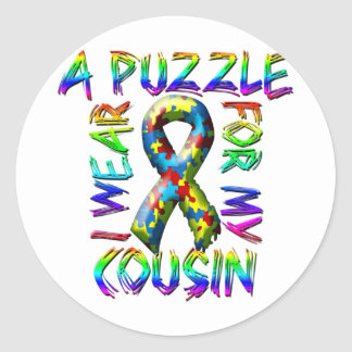I Wear A Puzzle for my Cousin Classic Round Sticker