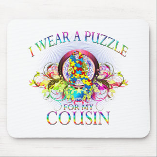 I Wear A Puzzle for my Cousin (floral) Mouse Pad