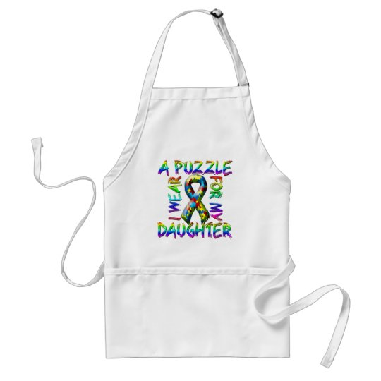 I Wear A Puzzle for my Daughter Adult Apron