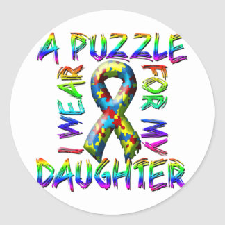 I Wear A Puzzle for my Daughter Classic Round Sticker