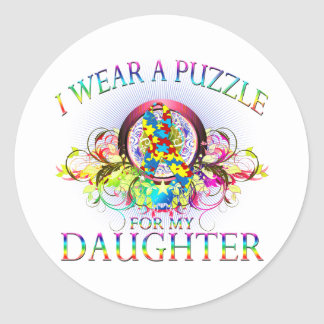 I Wear A Puzzle for my Daughter (floral) Classic Round Sticker