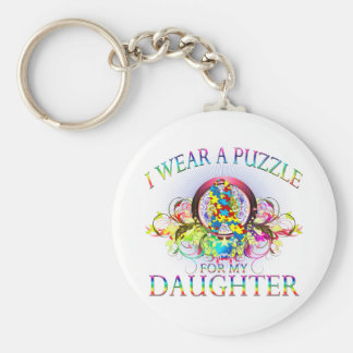 I Wear A Puzzle for my Daughter (floral) Keychain