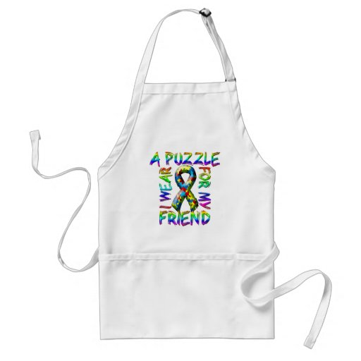 I Wear A Puzzle for my Friend Adult Apron