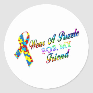 I Wear A Puzzle for my Friend Classic Round Sticker