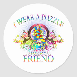 I Wear A Puzzle for my Friend (floral) Classic Round Sticker