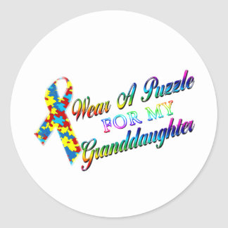 I Wear A Puzzle for my Granddaughter Classic Round Sticker