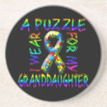 I Wear A Puzzle for my Granddaughter Beverage Coaster