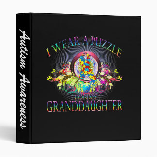 I Wear A Puzzle for my Granddaughter (floral) Binder