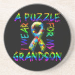 I Wear a Puzzle for my Grandson Beverage Coasters