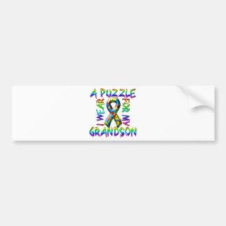 I Wear a Puzzle for my Grandson Car Bumper Sticker