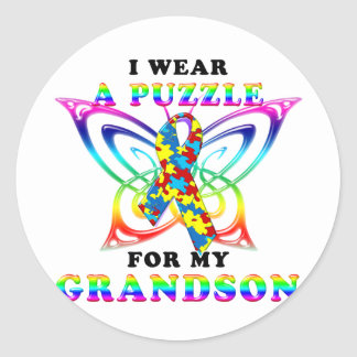 I Wear A Puzzle for my Grandson Classic Round Sticker