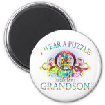 I Wear A Puzzle for my Grandson (floral) Magnets