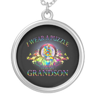 I Wear A Puzzle for my Grandson floral Pendant
