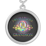 I Wear A Puzzle for my Grandson (floral) Pendant