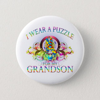 I Wear A Puzzle for my Grandson (floral) Pinback Button