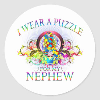 I Wear A Puzzle for my Nephew (floral) Classic Round Sticker