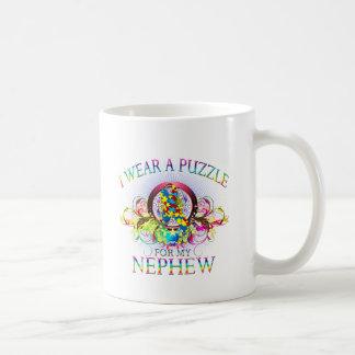 I Wear A Puzzle for my Nephew (floral) Coffee Mug