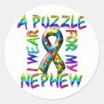 I Wear A Puzzle for my Nephew Classic Round Sticker