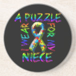 I Wear a Puzzle for my Niece Drink Coaster