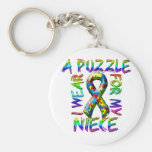 I Wear a Puzzle for my Niece Keychain
