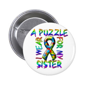I Wear A Puzzle for my Sister Button