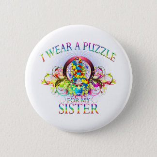I Wear A Puzzle for my Sister (floral) Button